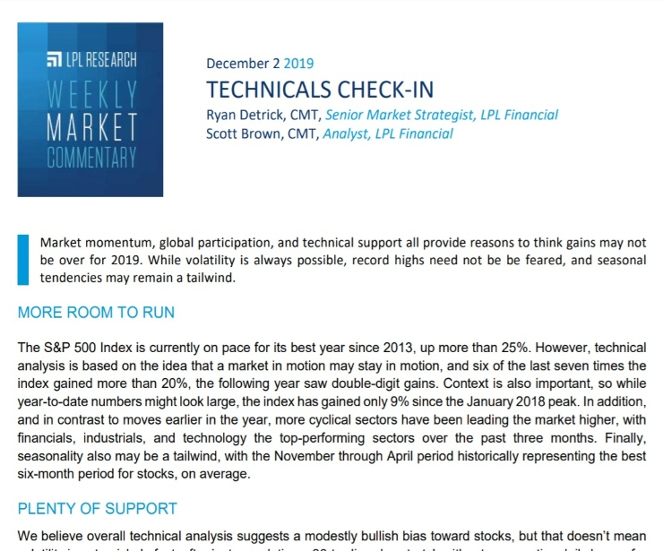 Technicals Check-In   Weekly Market Commentary   December 2, 2019
