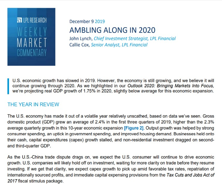 Ambling Along in 2020   Weekly Market Commentary   December 9, 2019