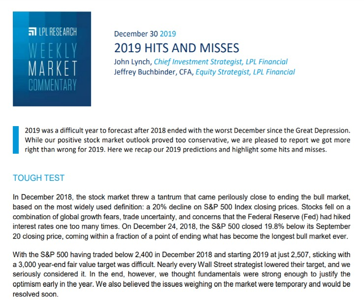2019 Hits and Misses | Weekly Market Commentary | December 30, 2019
