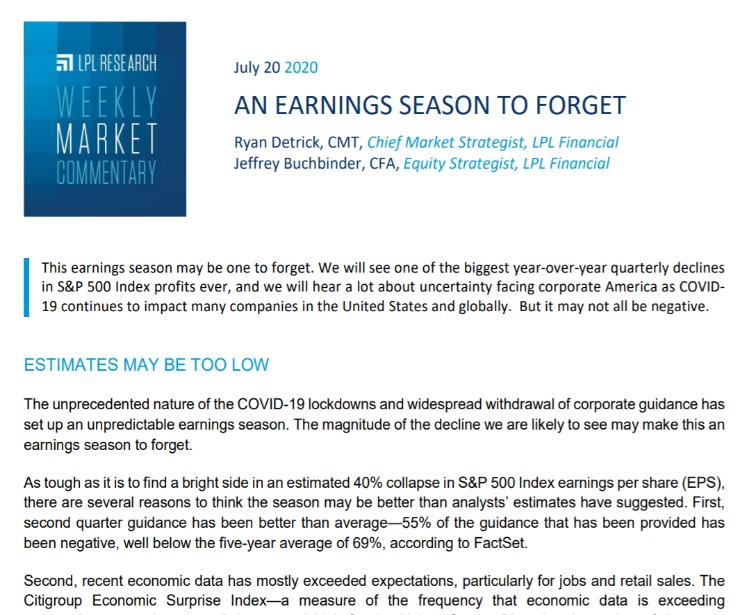 An Earnings Season To Forget | Weekly Market Commentary | July 20, 2020